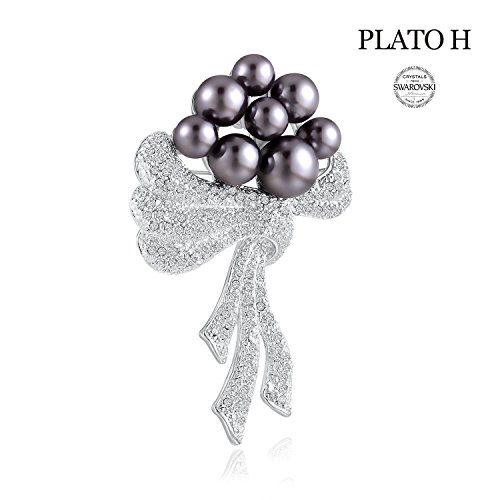- Crystal Brooch Pins PLATO H Women Fashion Jewelry Noble Cultured Pearl & Scarf Brooch with Swarovski Crystal Romantic Gift for Her