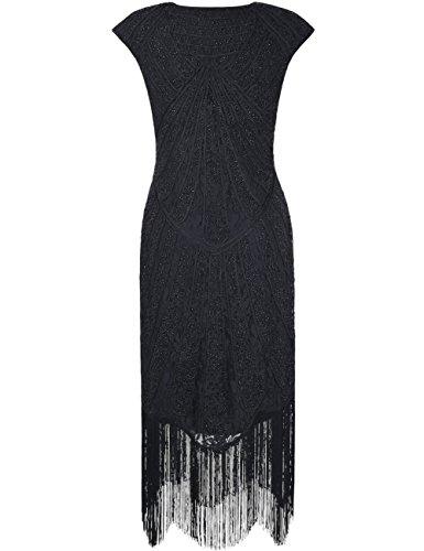 1920 Perline Frange Kayamiya Pizzo Le Di Retrò Con Pizzo Arte Vestito Frange Nero Donne Ispirarono Deco Glam Delle RwqRXxvr