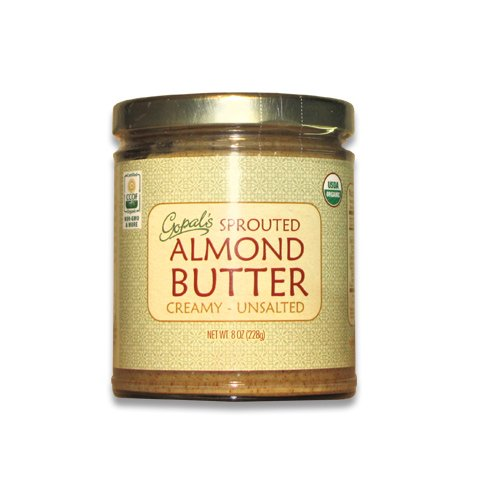 Gopals Organic Raw Sprouted Almond Butter (Creamy and Unsalted) - 8 Ounces Jar