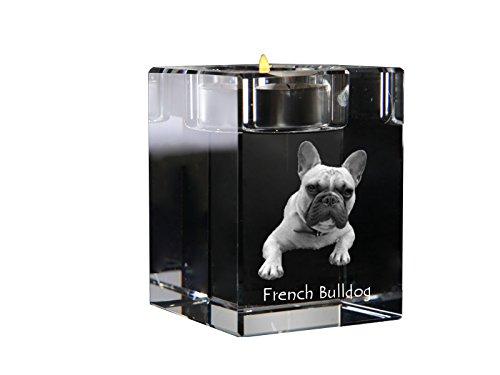 Art Dog Ltd. French Bulldog, crystal candlestick, candle holder with dog, souvenir, limited (Bulldog Candle Holder)