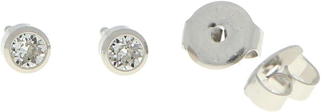 Primer pendiente de botón de acero quirúrgico esterilizado, armazón con piedra transparente