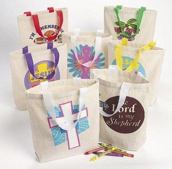Religious Canvas Tote Bags (50Pc Religious Canvas Tote Asst. (50 pieces) - Bulk)