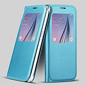 Screen Visible PU Leather Full Body Case for Samsung Galaxy S6 Edge (Assorted Color) , Light Blue