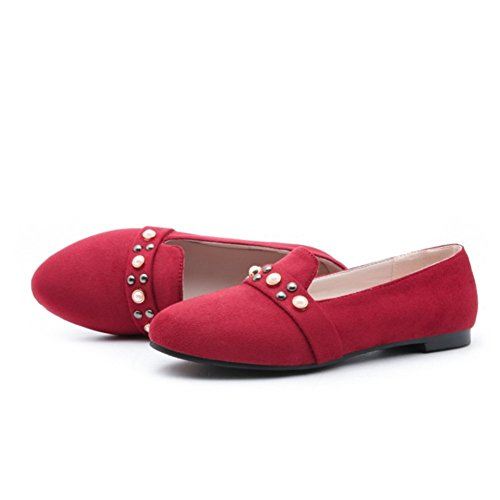 Redonda Plana Cabeza de Mujer Zapatos de Tacón Alto de para Tacón Mujer Red Individuales Retro Alto Zapatos Remache HwqxXIf11