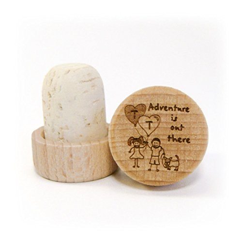 Laser Engraved Wood/Cork Wine Stopper - Wedding Adventure Series (Stopper White Bottle Seashell)