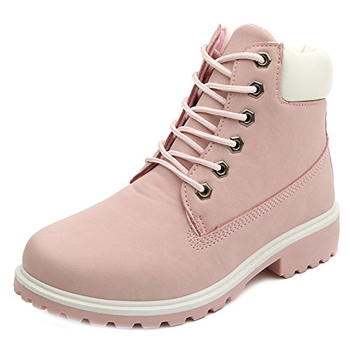 Booties Mid Up Round Faux Heels Pink Aisun Toe Short Chunky Timberland Comfy Women's Martin Lace Suede qaqY6Bx