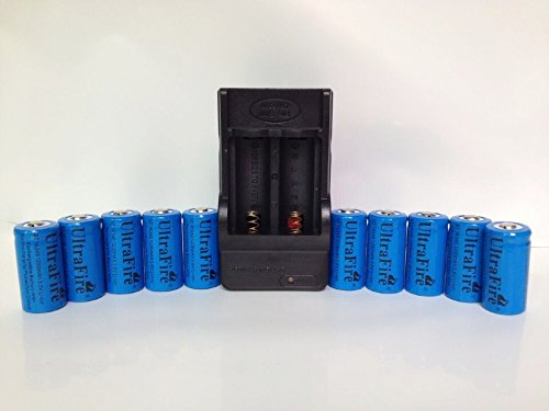ON THE WAY®10pcs 16340 CR123A LR123A 3.6V 1200mAh Rechargeable Li-Ion Battery with Charger