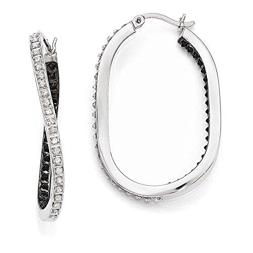 Sterling Silver Black & White Diamond Mystique Twisted Hoop Earring by Jewelry Adviser Hoop Earrings