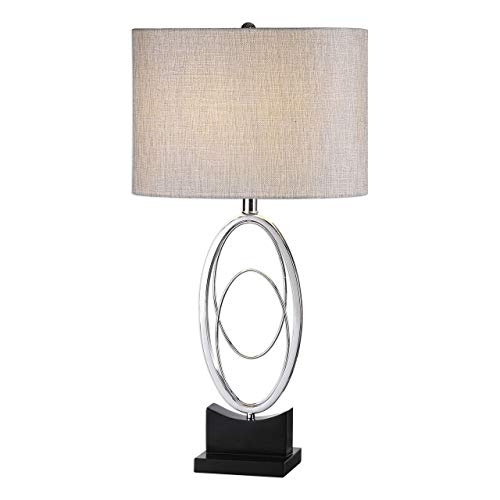 Uttermost 27532-1 Savant - One Light Table Lamp, Polished Nickel/Matte Black Finish with Rust Beige Linen Fabric Shade