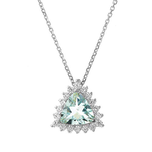 Exquisite 14k White Gold Diamond and Trillion Cut Aquamarine Pendant Necklace, - Diamond Trillion Necklace
