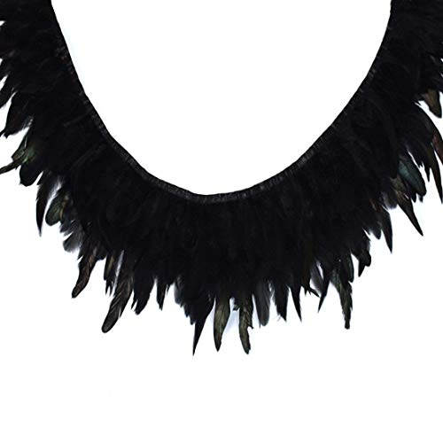 Boa Trim Feather (CHQHQ Rooster Feather Hackle Feather Trim Fringe Trim Dress Decoration Pack of 2 Yard Black)
