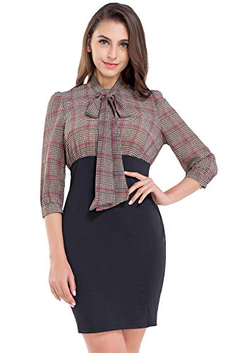 AUQCO Women Business Pencil Dress for Office Work Patchwork 3/4 Sleeve