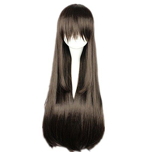 Brown Fur Wig - Kadiya Women Girl Fashion Long Straight Dark Brown Cosplay Wigs