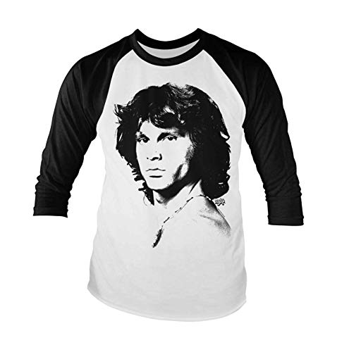 Jim Morrison Portrait - The Doors T Shirt Jim Morrison Portrait Official Mens White Long Sleeve Baseball Size L