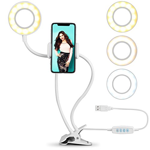 Ring Light for Phone, SIX-QU Cell Phone Holder with Selfie Ring Light for Live Stream, Makeup, Video Chat, 3-Light Mode and 10-Level Brightness with Flexible Phone Stand for iPhone, Android Phone