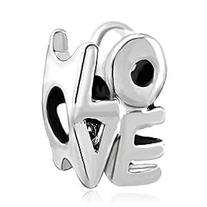 Pugster chapado en plata envejecida Love para pulsera Pandora cuentas de it/Troll/estilo para pulsera pulseras Chamilia