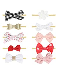 Baby Girl Soft Headbands and Bows,Newborn Infant Toddler Hair Accessories Different Style by Jmitha (C07-10pack)