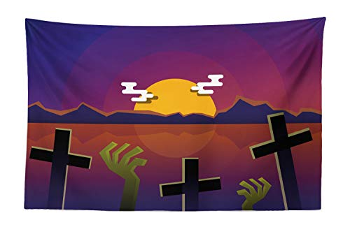 (Lunarable Horror Movie Tapestry, Halloween Themed Nighttime View of a Grave, Fabric Wall Hanging Decor for Bedroom Living Room Dorm, 45 W X 30 L Inches, Earth Yellow Green Brown)
