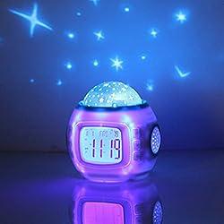 OHTOP Children Baby Star Night Light Projector Lamp Bedroom Music Alarm Clock