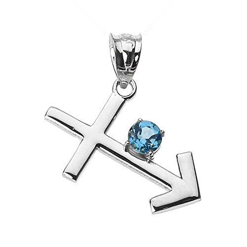 Personalized 10k White Gold Genuine Blue Topaz December Birthstone Sagittarius Zodiac Charm Pendant