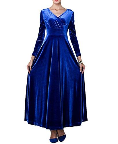 de cuello longitud 3 cóctel Vestido Blue de vestido contraste vestido de 4 cóctel redondo Vestido del elegante de noche de piso Scothen Vestidos noche de de Costuró manga Vestido Invierno aWqgHWwxUz