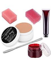 CCbeauty Scar Wax Set SFX Makeup Wax (1.6 Oz) Fake Wound Moulding Scars Kit with Spatula,Scab Blood(1.06Oz) + Fresh Liquid Blood(0.98 Oz)+2pcs Different Hole Pink Stipple Sponges