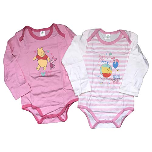 Disney Winnie The Pooh 2 Pack Bodysuit 100% Heavy Comb Cotton Long Sleeves for Baby Boys or Girls(3-24 Months) (Pink/Pink Stripes, 18-24 Months)