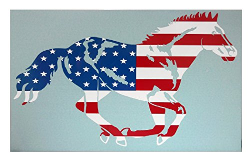 Western Graphics 644420 Style 73RWB Running Horse Running Horse Car Decal Red, White, Blue