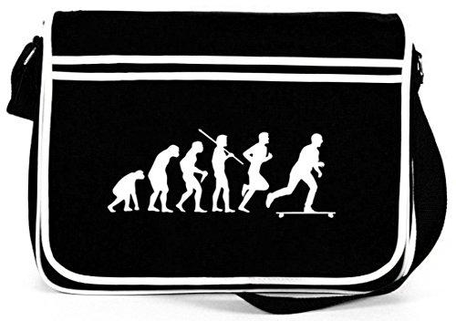 Shirtstreet24, Evolution Longboard, Skateboard Retro Messenger Bag Kuriertasche Umhängetasche Schwarz