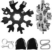 Snowflake Multitool, 2 PCS Black and Silver 18-in-1 Snowflake Standard Multi Tool, Stainless Steel Snowflake W