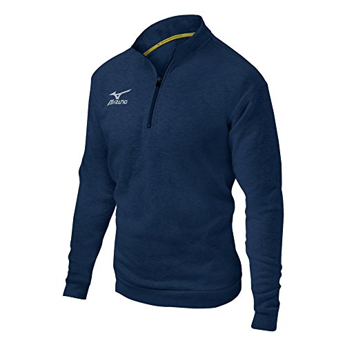 Mizuno 1/2 Zip Fleece Pullover, Heathered Navy, Medium ()