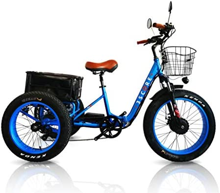 3Score Electric Fat Trike 750W Motor and 48V 17.4 AH LG Lithium Rechargeable Battery – Etrike 24 Inch Fat Tire – Foldable Electric Cruiser Tricycle