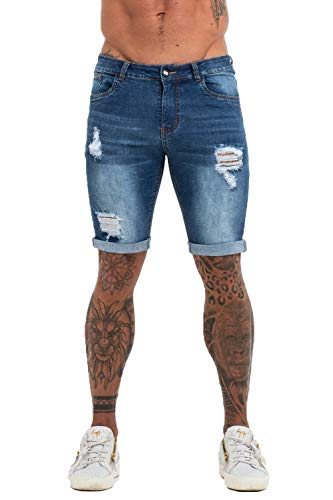 GINGTTO Shorts for Men Casual Jeans Slim Fit Denim Shorts Men Stretch Short Jeans ()