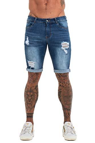 GINGTTO Ripped Denim Jean Shorts Men Skinny Shorts Stretch Jeans Slim Fit Blue 32