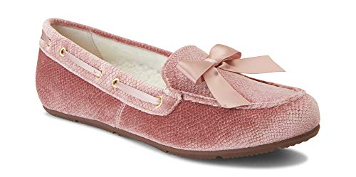 Vionic Women's Haven Alice Holiday Slipper - Ladies Moccasin Concealed Orthotic Arch Support Blush 6.5 M ()