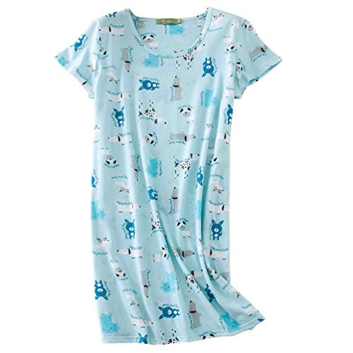 ENJOYNIGHT Women's Sleepwear Cotton Sleep Tee Short Sleeves Print Sleepshirt (Medium, Blue Dog)