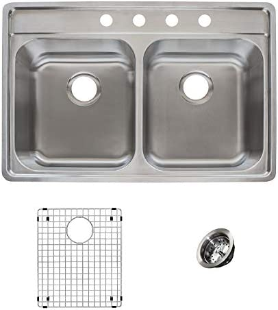 Franke EVDCG904-18KIT Sink Kit, 33 left-to-right x 22 front-to-back x 9 D, Stainless Steel