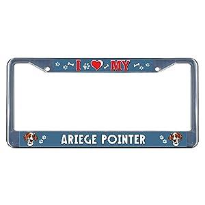 Sign Destination Metal Insert License Plate Frame Ariege Pointer Dog I Heart Weatherproof Car Accessories Chrome 2 Holes Solid Insert Set of 2 4