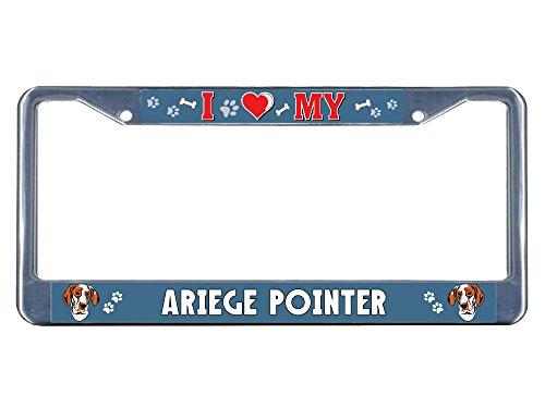 Sign Destination Metal Insert License Plate Frame Ariege Pointer Dog I Heart Weatherproof Car Accessories Chrome 2 Holes Solid Insert Set of 2 1