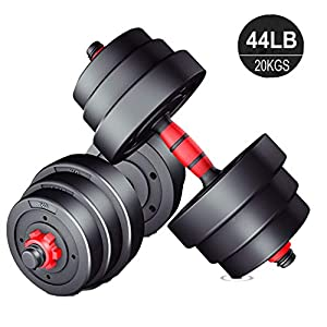 Anbo 20KGS/44LB Adjustable Dumbbell Weight Set, Home Fitness Barbell Plates Muscle Body Trainning, Gym Equipment…