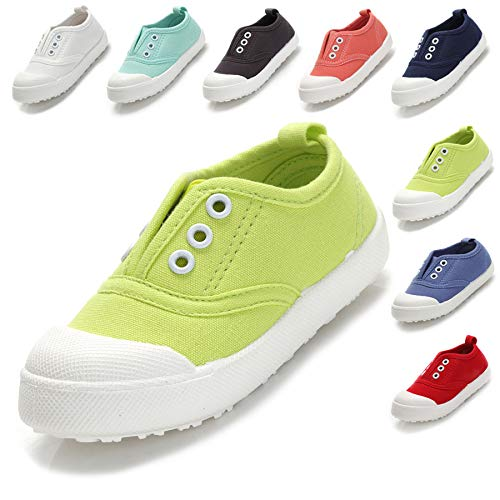 Kikiz Candy Color Kids Toddler Canvas Sneaker Boys Girls Casual Shoes Light Green 7 M US Toddler