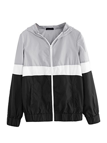 Floerns Women's Color Block Hooded Casual Thin Windbreaker Jacket Black Grey S