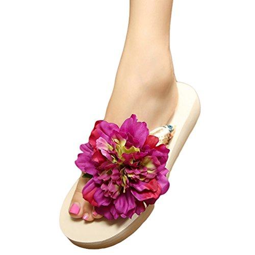 YOUJIA Damen Boho Blumen Zehentrenner Sommer Strandschuhe Keilschuhe Plateau Slipper #2 Beige Violett