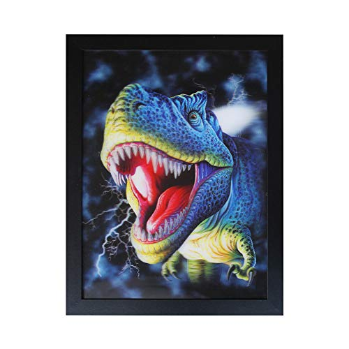 NEILDEN 3D Dinosaur Picture Holographic Poster Dinosaur Painting with Frame Dinosaur