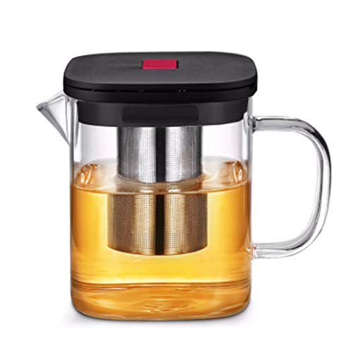Glass Teapot Borosilicate with Button Infuser Filter Stovetop Safe 38oz Heat Resistant for Hot and Iced -1100ml ()