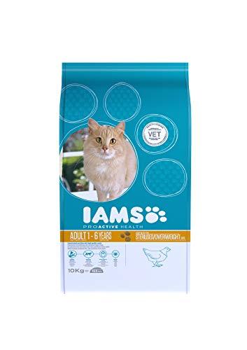 IAMS for Vitality Alimento bajo en grasa para Gatos Esterilizados con pollo fresco [10 kg]
