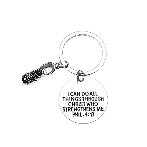 Runner Keychain, Christian Faith Charm Keychain, I Can Do All Things Through Christ Who Strengthens Me Phil. 4:13 Scripture Jewelry, Gift for Runners, Cross Country & Track and Field