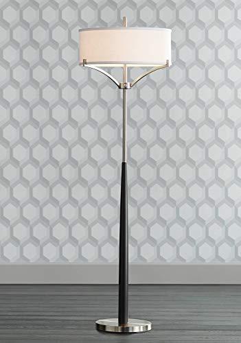Avery Modern Floor Lamp Black and Brushed Steel Column White Linen Drum Shade for Living Room Reading Bedroom Office - 360 Lighting