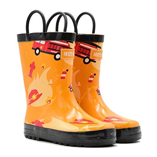 Mucky Wear Children's Rubber Rain Boot, Fireman, 12T US Toddler