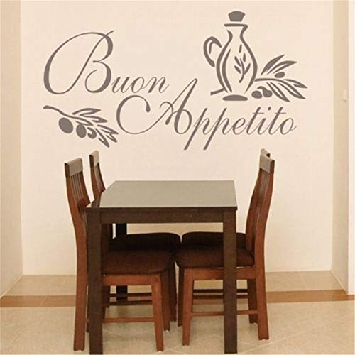 Tisloa Wall Stickers Design Art Words Sayings Removable Lettering B1 BUON Appetito Sticker Italian Quote Kitchen Decal Greeting Meal Wall Stickers for Restaurant Decor ()